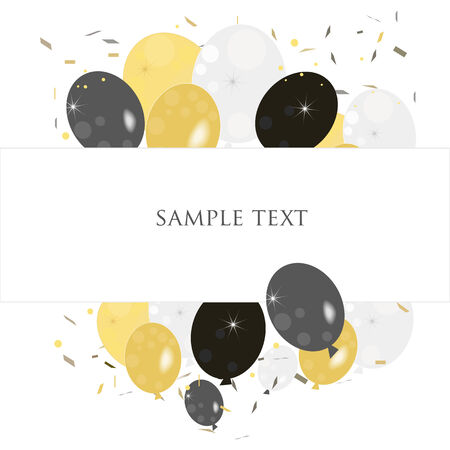 ballons: Ballons greeting with confetti vector background