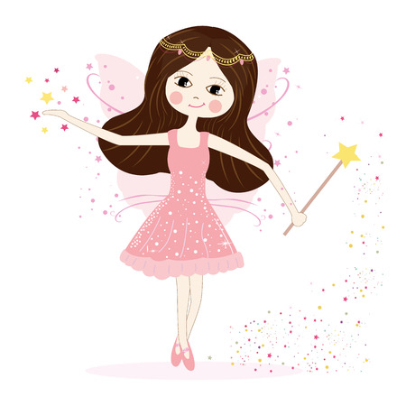 Cute fairy girl vector with stars Stock Illustratie