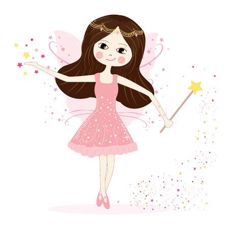 petite fille avec robe: Vecteur de fille de f�e mignonne avec des �toiles