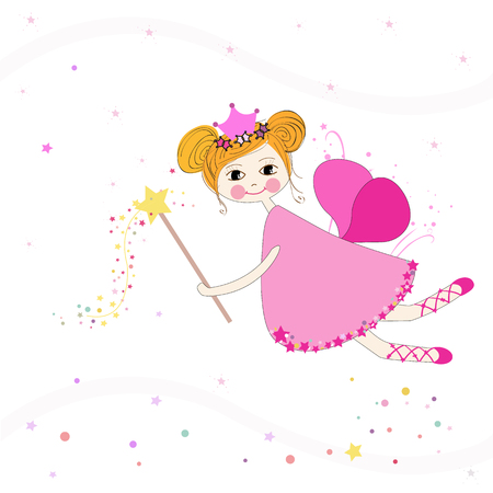 beauty queen: Lovely fairy with stars vector background Illustration