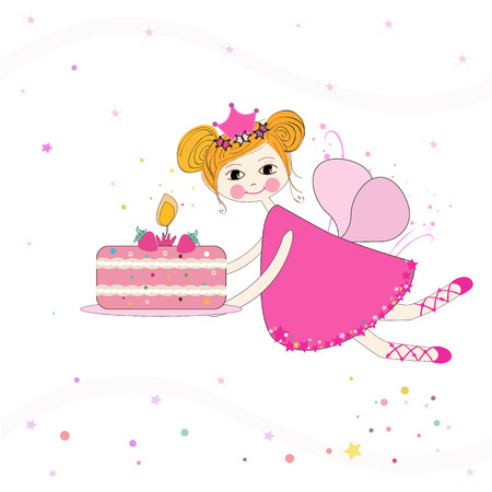 beauty queen: Lovely fairy with birthday cake vector background Illustration