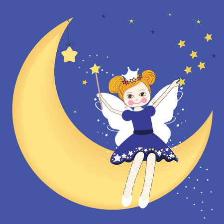 Lovely fairy sitting on the moon at night Vector