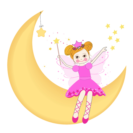 Lovely fairy sitting on the moon vector Vector