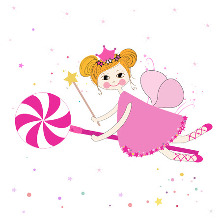 beauty queen: Lovely fairy with candy vector