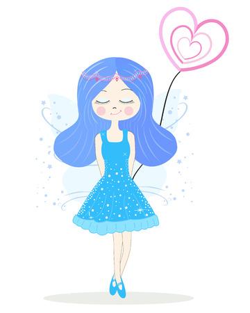 fairy: Cute blue fairy girl vector Illustration