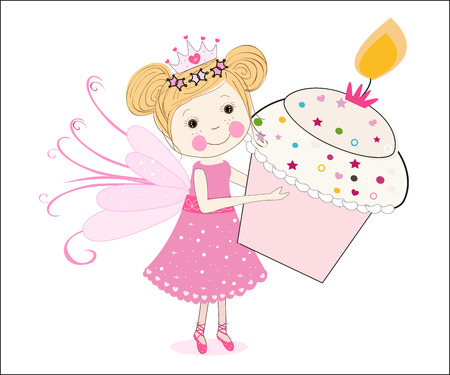 Cute fairy tale holding cupcake vector Vector