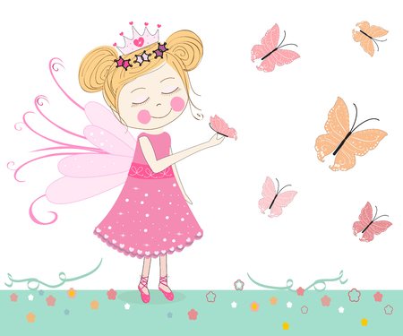 queen of angels: Cute fairytale with butterflies vector