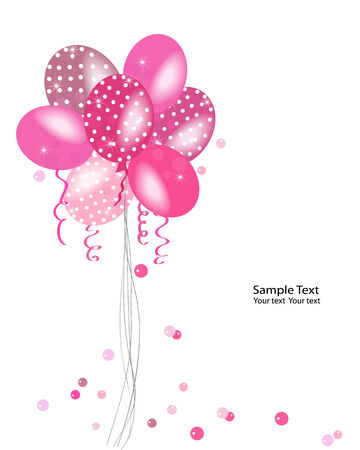 event party festive: Pink polka dot balloons vector greeting card