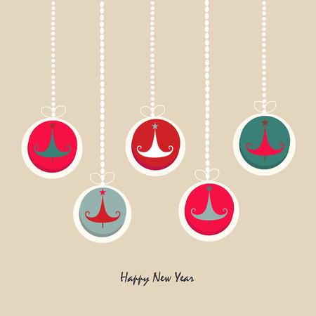 albero pino: Felice anno nuovo ornamento pino biglietto di auguri