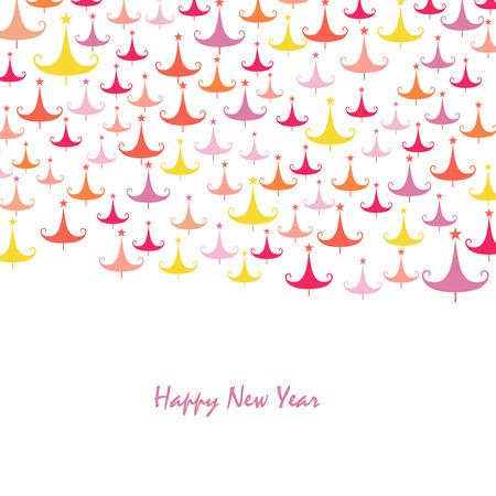 albero pino: Felice anno nuovo albero di pino colorato biglietto di auguri Vettoriali