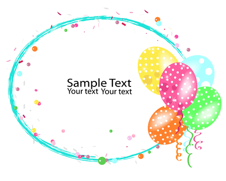 Colorful balloons frame with confetti vector Illustration