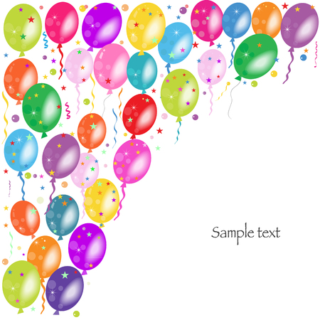 ballons: Colorful ballons and confetti vector background