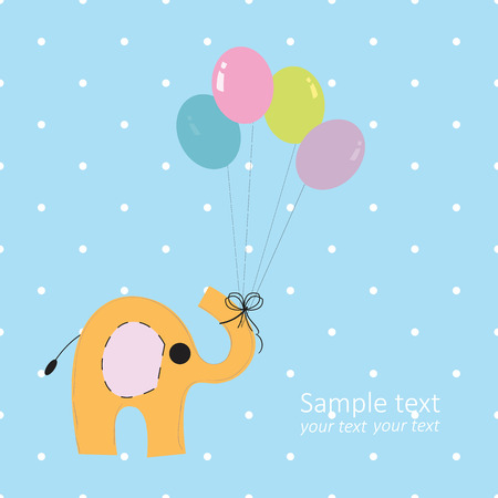 Baby boy elephant greeting card with colorful balloons Illustration