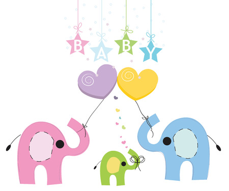family holiday: Baby elephant family greeting card vector background Illustration