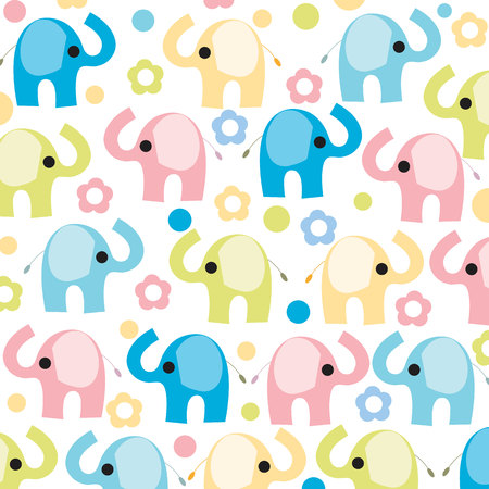 Colorful Elephant With Flowers Vector Wallpaper Stock