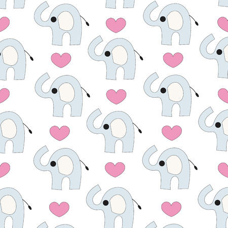 Elephant and hearts seamless vector background Vector