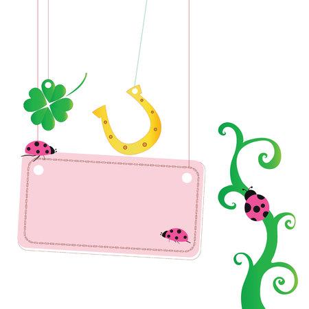 ladybird: Good luck greeting card with ladybird, horseshoe Illustration
