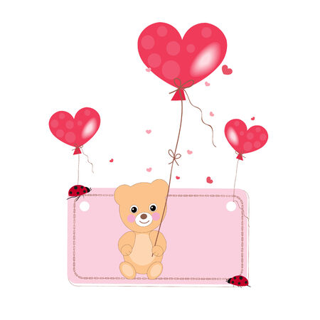 Flying heart balloon with teddy bear and ladybird background Vector