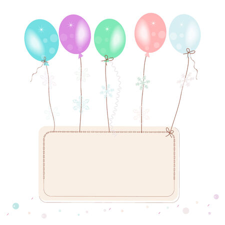 Pastel flying ballons with confetti space for text greeting card Vector