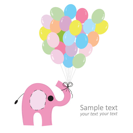 Pink elephant with colorful balloons baby greeting card vector Vector
