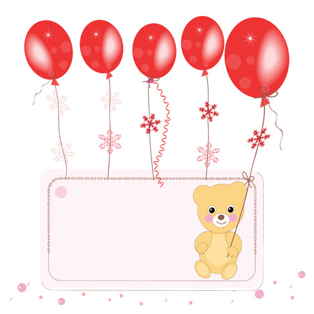 Red flying ballons with teddy bear space for text greeting card Vector