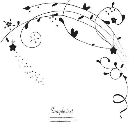 greeting: Black ornamental simple flowers greeting card vector background