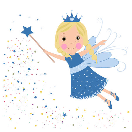 Cute fairytale blue stars shining vector
