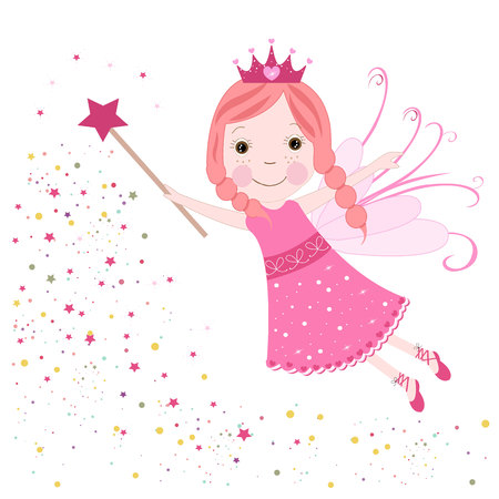Cute fairytale pink stars shining vector 일러스트