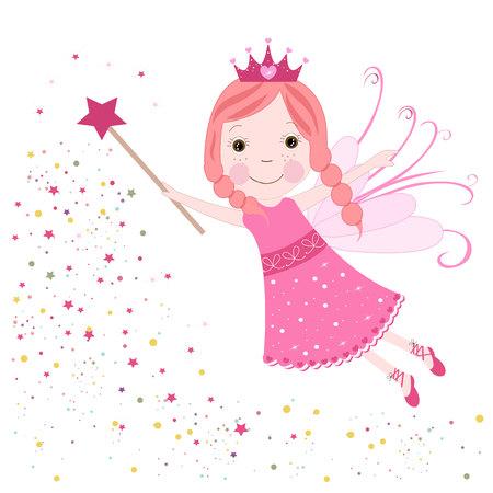Cute fairytale pink stars shining vector Illustration