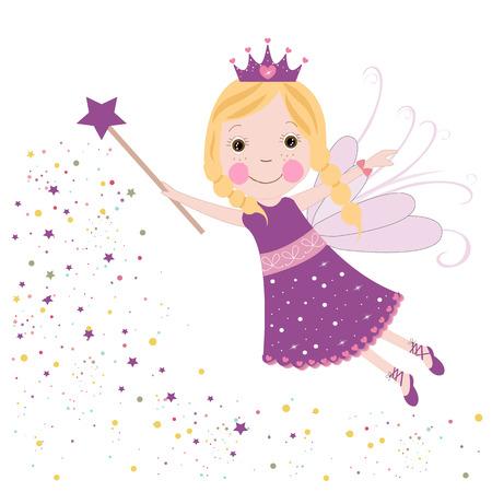 Cute fairytale purple stars shining vector