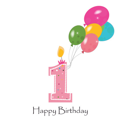birthday candle: Happy first birthday colorful balloon vector background