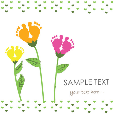 adolescent: Baby foot print with flower vector background