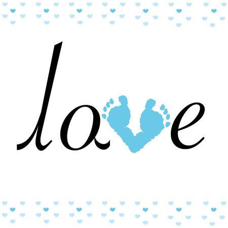 pie bebe: Impresión del pie del bebé con el fondo del amor del vector