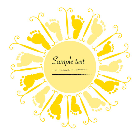 Baby footprints and sunshine vector background