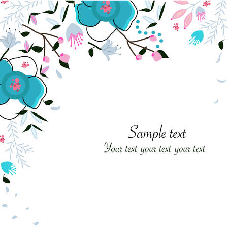 greeting: Spring floral greeting card vector background Illustration