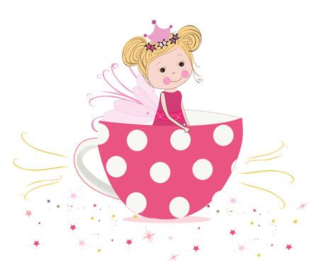 Cute fairy tale with teacup vector Stock Illustratie