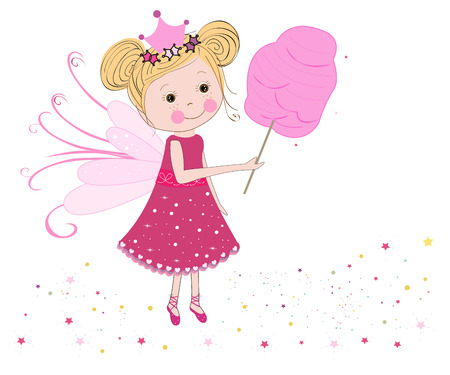 cotton candy: Cuento de hadas linda con el vector de algod�n de az�car