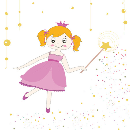 Princess girl with stars vector background Ilustrace