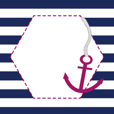 baby announcement card: Baby boy announcement card with anchor