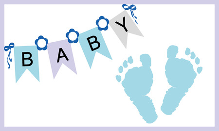 baby blue: Baby boy feet prints greeting card vector Illustration