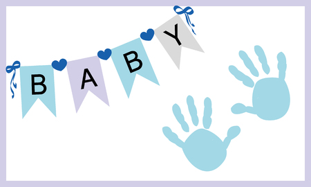 hand: Baby boy hand prints greeting card vector Illustration