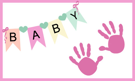 hand print: Baby girl hand prints greeting card vector