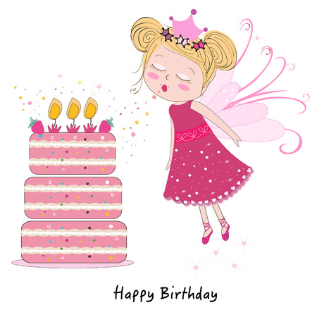 Fairy girl blowing out candles with happy birthday cake