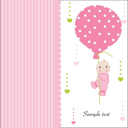 baby announcement card: Hold the balloon baby girl arrival greeting card vector Illustration