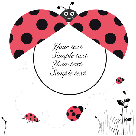 baby announcement card: Ladybird baby shower baby announcement greeting card vector Illustration