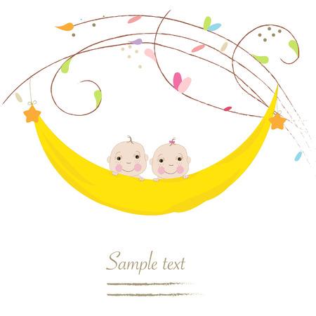 Newborn twin baby greeting card Illustration