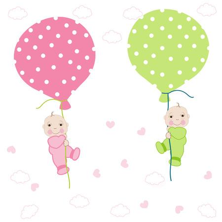 gemelos niÑo y niÑa: Doble tarjeta de llegada del bebé con vector globo saludo