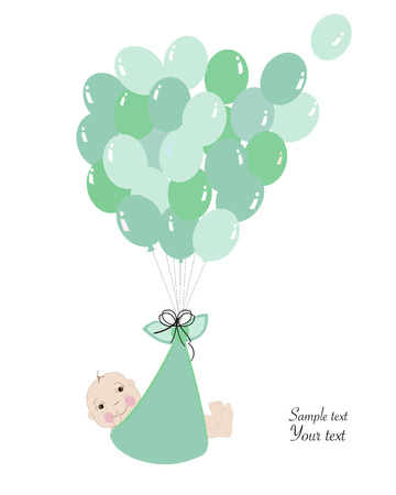 swaddle: Swaddle baby boy announcement card with balloon vector