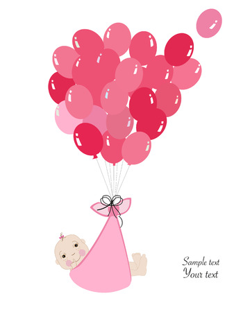 baby announcement card: Swaddle baby girl announcement card with balloon vector