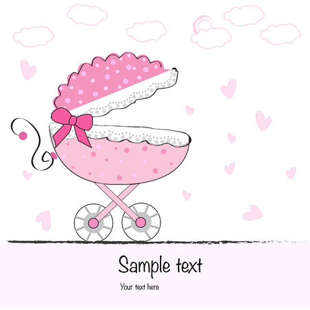 baby girl arrival: Baby girl arrival greeting cad with baby stroller vector